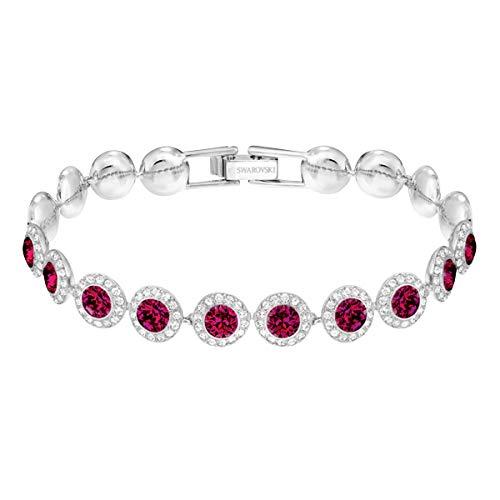 Swarovski Angelic Square Armband, Weißes und Rhodiniertes Damenarmband mit Funkelnden Roten und Klaren Swarovski Kristallen