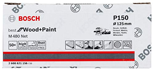 Preisvergleich Produktbild Bosch Professional 50 Stück Schleifblatt M480 Best for Wood and Paint (Holz und Farbe,  Ø 125 mm,  Körnung P150,  Zubehör Exzenterschleifer)