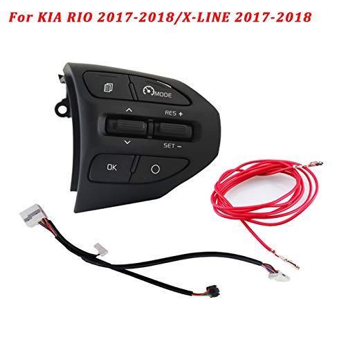 N\A Levas en el Volante, Audio Teléfono de Volumen Interruptor de automóvil para K2 Rio Ikslain Agosto X-Line Luxe Línea roja Línea Volante Control de Crucero Botón Bluetooth (Color : K2 A Cable)
