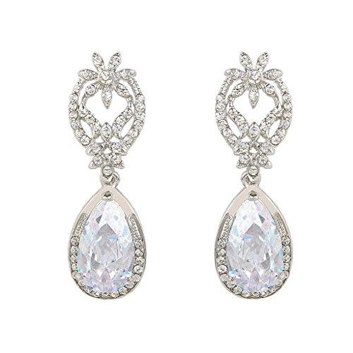 EVER FAITH nuziale silver-tone Fiore Foglia ciondolano gli orecchini cristallo austriaco zircone