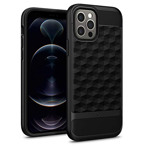 Caseology Parallax Compatible with iPhone 12 Pro Case Compatible with iPhone 12 Case (2020) - Matte Black