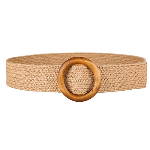 Deinbe Redondo Vestido de la Hebilla de Madera Cinturón Trenzado Mujeres Retro Ancho de Cintura cinturón elástico Tejido PP Paja