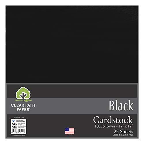 Clear Path Paper 100lb Cover Cardstock Paper, 12 x 12, Black, 25 Sheets Cardstock 12x12 Scrapbook Paper