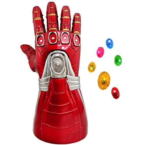 Iron Man Infinity Gauntlet Glove Infinity Stone LED Light Up with Removable Magnet Gem for Kid Adult Red