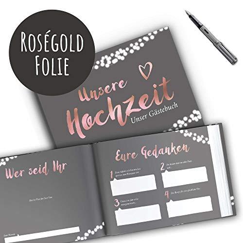 Gästebuch mit Fragen | grau, roségold - 2
