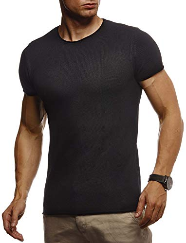 Leif Nelson Herren Sommer T-Shirt Rundhals Ausschnitt Slim Fit aus Feinstrick Cooles Basic Männer T-Shirt Crew Neck Jungen Kurzarmshirt O-Neck Sweater Shirt Kurzarm Lang LN7320 Schwarz Large