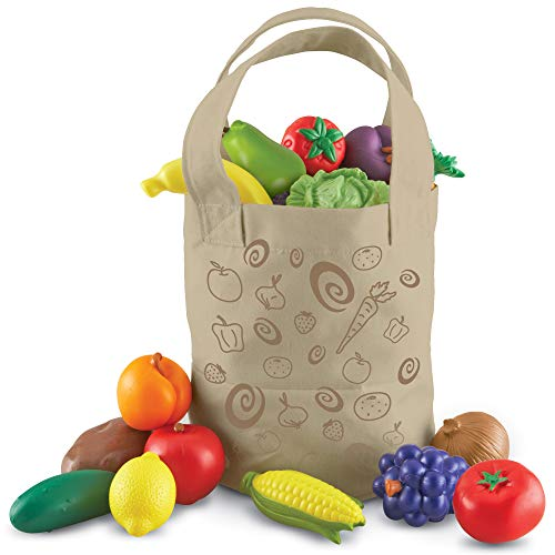 Learning Resources- Bolsa de la Compra con Frutas y Verduras recién recolectadas New Sprouts, Color (LER9722)