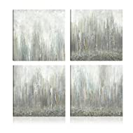 Art Maison Canada Abstract Caves Giclee Gallery Wrapped Canvas Wall Art|Modern Décor for Home and Office | Ready to Hang |Set of 4(12x12INCH), Gray, White