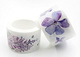 Purple Wisteria and Violets Floral washi Tape/Japanese Masking Tape for scrapbooks, Crafts, Decorating, and Cards, Gift Wrapping
