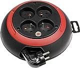 Brennenstuhl 1102241 Design-Box CL-S - Enrollador de cable eléctrico (3 m, H05VV-F 3G1,0), color negro y rojo