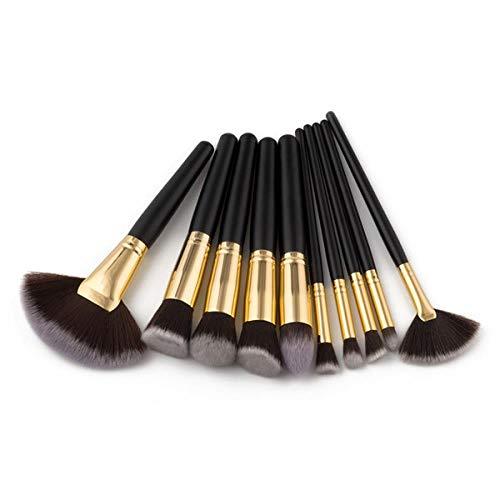 MEISINI La poudre de base en bois de base de poignée de pinceaux de maquillage composent également des outils cosmétiques de brosse, noirs