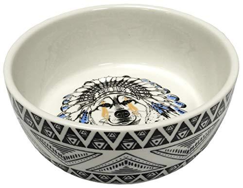 Tyrol Ciotola in Ceramica per Cani, Motivo Etnico, 16 cm, 0,48 kg