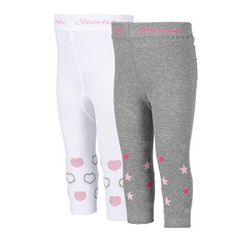 Sterntaler Doppelpack Leggings für Babys, Herzen-Motiv, Alter: 7-12 Monate, Größe: 80, Weiß