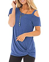AMORETU Ladies Cold Shoulder Tops Loose Knot Twist Front Tunic T-Shirt Blue Size 18 20