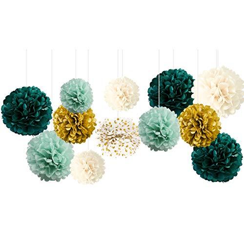 NICROLANDEE Seidenpapier-Pompons für Hochzeitsparty-Dekorationen, neutrale Babypartys, Vintage-Partys, Geburtstage, Brautpartys, rustikale Hochzeitsdekorationen, Grün (Green Ivory), 12 Stück