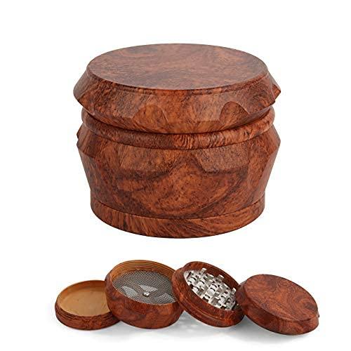 Molinillo de hierbas y especias, de madera, 4 unidades, 6,3 cm, gran capacidad con tapa magnética y recogedor de polen, molinillo