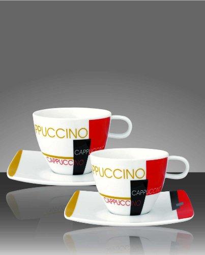 2er Set Cappuccinotassen mit Untertasse im Geschenkkarton von Art Café
