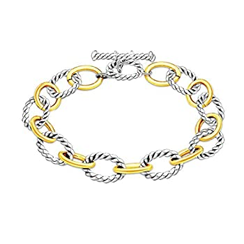 Chunky Cuban Curb Link Chain Twist Oval Toggle Clasp Bracelets 14K Gold Silver Plated Exaggerated Wide Woven Cable Wire Wrist Bracelets for Women Girl Men Boy Geometric Jewelry Gift