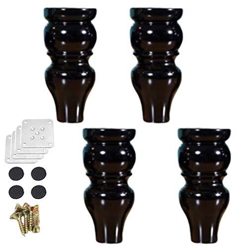 DuDu Hardware Confezione da 4 Parti mobili in Legno Divano Gambe, Zucca Forma Gambe mobili di Legno, for Tavoli, Sedie, armadi, caffè Piedi Tavole di Ricambio, con Viti, Colori Multipli e Dimensioni
