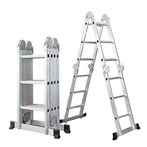 WXYI Escaleras Plegables Multiusos, (4 Pliegues × 3 escalones) Extensión de Escalera telescópica de Aluminio Escalera pequeña Gigante Plegable telescópica Capacidad de 330 Libras