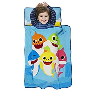 Baby Shark Toddler Nap Mat – Includes Pillow and Fleece Blanket – Great for Boys and Girls Napping at Daycare, Preschool, Or Kindergarten – Fits Sleeping Toddlers and Young Children