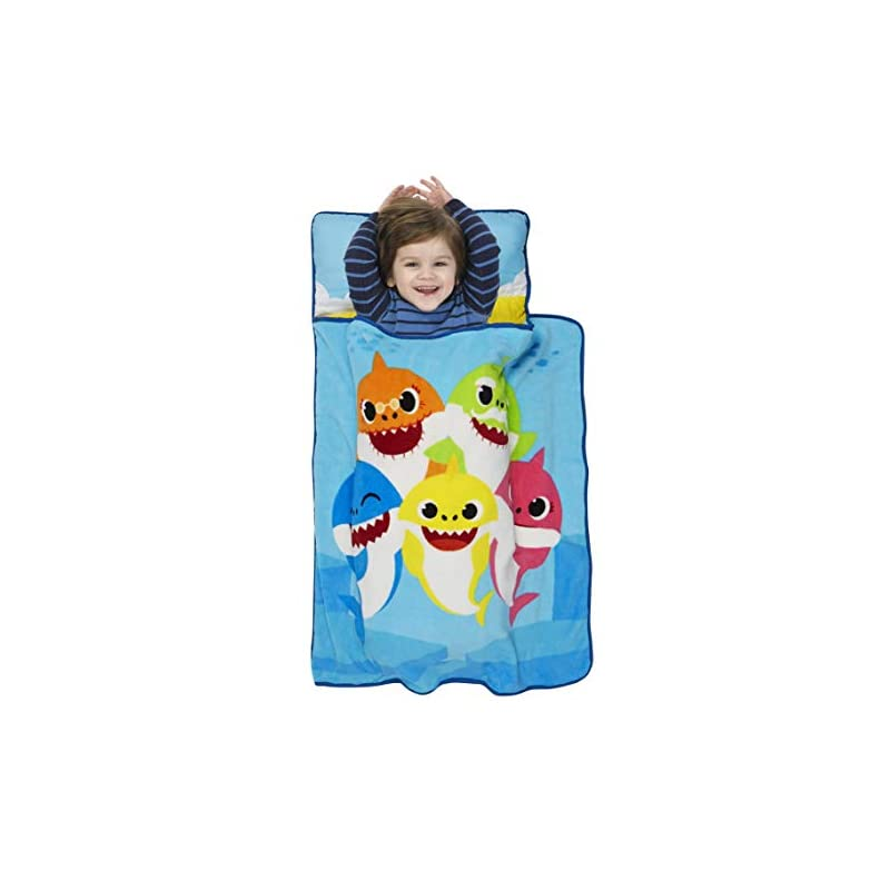 crib bedding and baby bedding baby shark toddler nap mat - includes pillow and fleece blanket – great for boys and girls napping at daycare, preschool, or kindergarten - fits sleeping toddlers and young children
