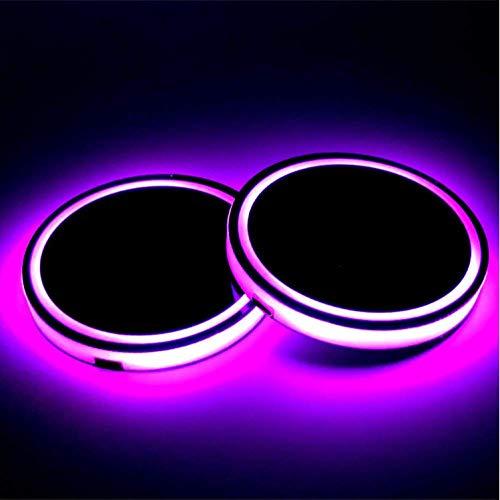 NAWXC 2 Stück Dekoration Licht, Auto Logo Untersetzer Mit 7 Farben Ändern, Auf Ma-se-ra-ti Für Getränke Untersetzer Zubehör Interieur Anwenden