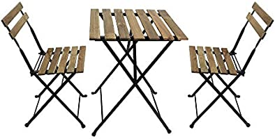 YATAI Wood Chairs and Table Bistro Set - Folding Outdoor Patio Dining Table Set - 3 Pcs Metal Foldable Dining Table Set...