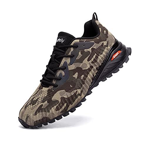 Kricely Men's Trail Running Shoes Fashion Hiking Sneakers for Men Camo Tennis Cross Training Shoe Mens Casual Outdoor Walking Footwear Size 10