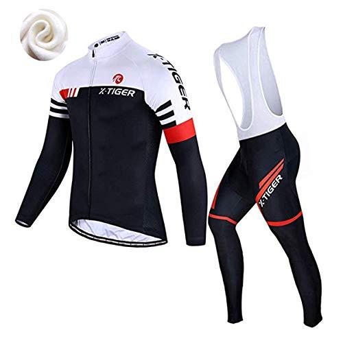 X-TIGER da Ciclismo Maglietta Manica Corta da Uomo + 5D Gel Pantaloncini Corti Imbottiti con pettorina Set di Abbigliamento Ciclista (Rosso e Bianco Inverno Maglia+Pettorina Pantalone, L (CN)= M(EU))