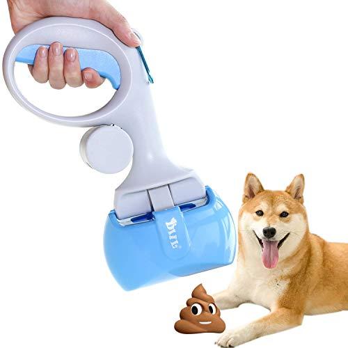 AECCN Recogedor de Excrementos para Mascota Perro Gato Recogedor de Residuos de Interior Herramientas de Limpieza al Aire Libre con Bolsas para Heces - Azul