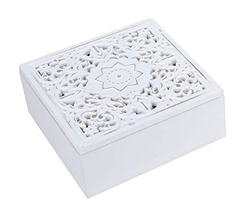 Kiste Holzkiste mit Deckel Holz Kästchen Ornament Holzkasten Shabby Boho weiß (Kleine Kiste (16x16 cm))