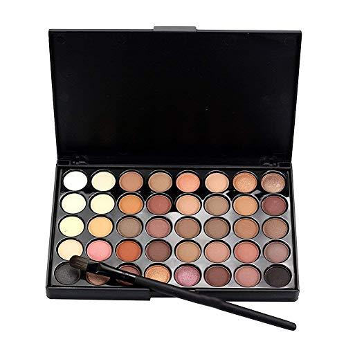 Hemore Schimmer Set Highlighter Kosmetische Matte Lidschatten Creme Make-up Palette Schimmer Set, 40 Farbe + Pinsel Set