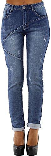 Blue Rags Dames Boyfriend-jeans met wassing, lijnen & scheuren & hoge band (34-42)