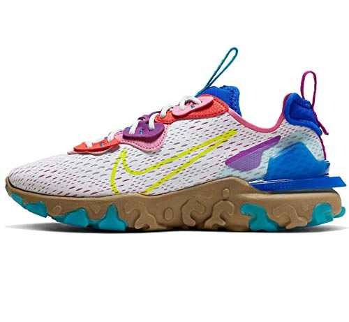 Nike W NSW React Vision, Scarpe da Corsa Donna, Multicolore (Photon Dust/Lemon Venom-Hyper Blue), 37.5 EU