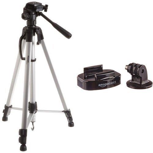 Amazon Basics Leichtes Stativ, bis 1,52 m, inkl. Tasche mit Amazon Basics GoPro Tripod Camera Mounts