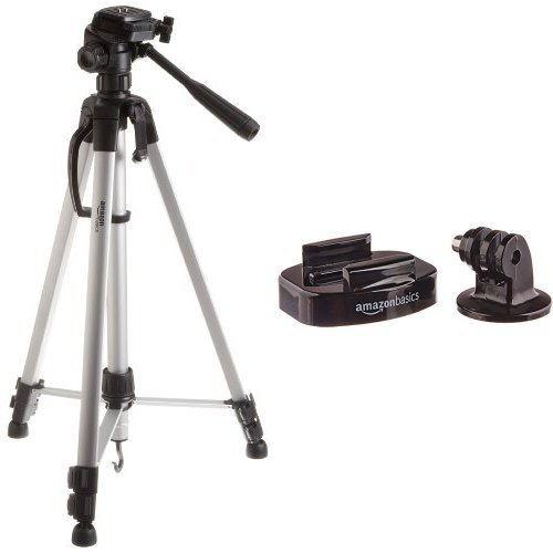 AmazonBasics - Treppiede leggero estensibile fino a 1,52 m, con custodia with AmazonBasics - Supporto da treppiedi per fotocamera GoPro