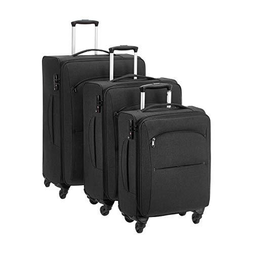 AmazonBasics Urban Softside Spinner Luggage, 3-Piece Set, Black