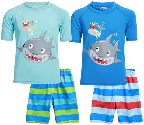 Sweet & Soft Boys UPF 50+ Boys Short Sleeve 4 Piece Rash Guard & Trunk Swimsuit Set (Infant/Toddler/Little Kid), Size 18 Months, Big Shark 4pc