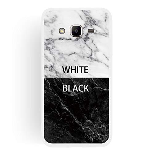 ChoosEU Compatible con Fundas Samsung Galaxy J3 2016 Silicona Dibujos Mármol Creativa Carcasas para Chicas Mujer Hombres, TPU Case Antigolpes Bumper Cover Caso Protección - Blanco Negro