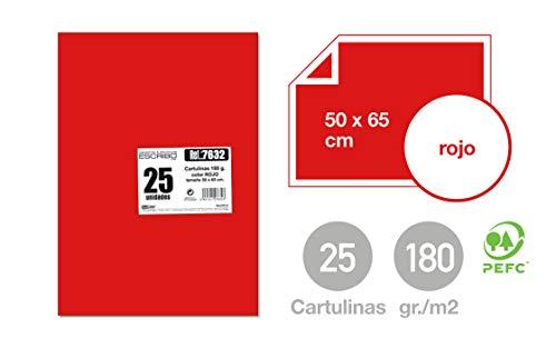 Pack 25 Cartulinas Grandes y Bonitas 180 gr/m2 - Medida 50x65cm (grande) - Color: ROJO - Material 100% Reciclable