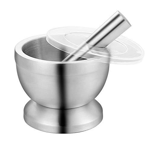 Food Processor-Food Processors best Rated Mortar And Pestle Spice Grinder Pill Crusher Ginger Garlic Grinder Garlic Presses Stainless Steel Masher Household Grinder Spice Crusher (Size : Large)