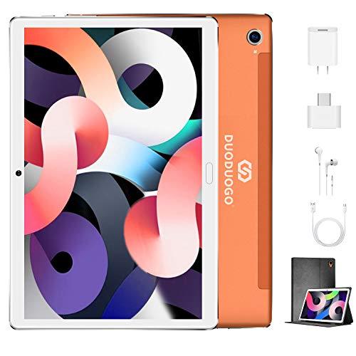 Tablet 10.1 Pulgadas 4G Android 9.0 Quad Core DUODUOGO Tablet Baratas 4GB RAM 64GB ROM/128GB Escalables 8000mAh Dual SIM/Cámara Tablet PC Google GMS Netfilx OTG (Estándar + Teclado y Mouse, Rosado)