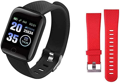Smart Watches Plus Pulsera Fitness Presión Arterial Frecuencia Cardíaca Android Podómetro Impermeable Deportes Reloj Inteligente Banda (Color: Verde)-Negro Rojo