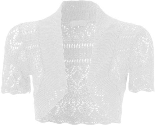 Damen-Bolero, gestrickt/gehäkelt, mit kurzen Flügelärmeln Gr. Einheitsgröße (34-36), weiß