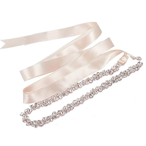SWEETV Bridal Belt with Rhinestones Wedding Dress Belt Crystal Headband Bride Bridesmaids Sash, Rose Gold