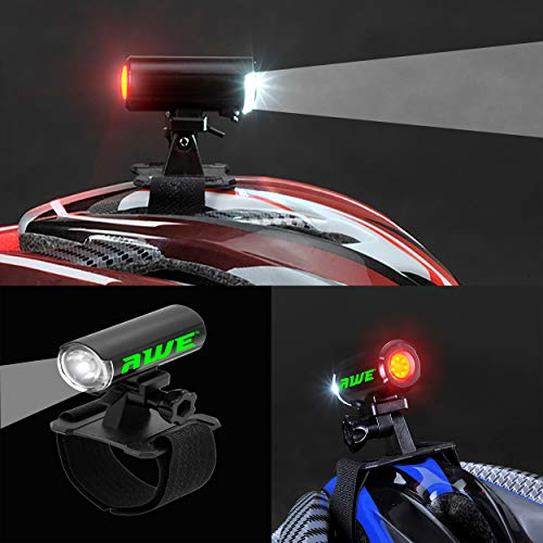 AWE USB RECHARGEABLE 150 Lumens Twin Helmet Light Front/Rear LED's NO BLACKSPOTS