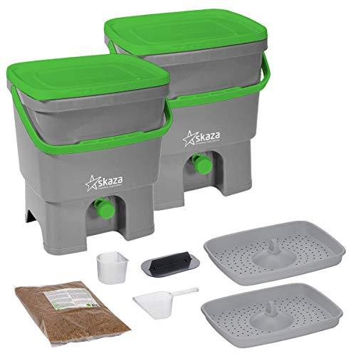 Skaza Bokashi Organko Set (2 x 16 L) Lot de 2 Composteurs en Plastique Recyclé | Starter Set pour Les Déchets de Cuisine et Le Compostage | avec de EM Bokashi Ferment 1 kg (Gris-Vert)