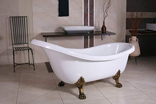 Casa Padrino Freistehende Badewanne Jugendstil Sicilia Weiß/Altgold 1740mm - Barock Badezimmer - Retro Antik Badewanne