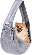 FDJASGY Small Pet Sling Carrier-Hands Free Reversible Pet Papoose Bag Tote Bag with a Pocket Safety Belt Dog Cat for Outdoor Travel CharcoalGray